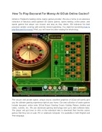 How To Play Baccarat For Money At GClub Online Casino