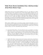 Make Water Heater Installation Easy with Knowledge about Water Heater Types