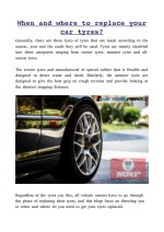 WHEN AND WHERE TO REPLACE YOUR CAR TYRES?