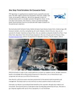 One Stop Total Solutions for Excavator Parts