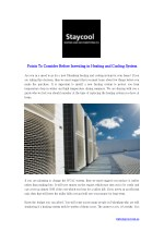Points To Consider Before Investing in Heating and Cooling System