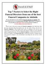 How to Select the Right Funeral Directors from Funeral Companies in Adelaide