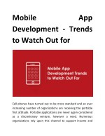 Mobile App Development – Trends to Watch Out for