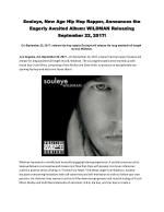 Souleye, New Age Hip Hop Rapper, Announces the Eagerly Awaited Album: WILDMAN Releasing September 22, 2017!