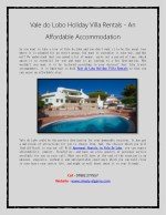 Vale do Lobo Holiday Villa Rentals - An Affordable Accommodation