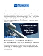 4 Common Issues That Arise With Solar Water Heaters