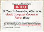 Hi Tech is Presenting Affordable Basic Computer Course in Patna, Bihar