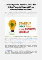 Collect Updated Business Ideas And Other Financial Support From Startup India Consultant