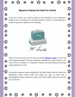 Signature Stamp Are Ideal For Artists