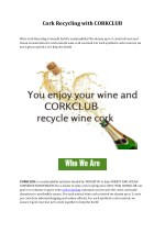 Cork Recycling with CORKCLUB