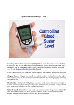 Tips to Control Blood Sugar Level