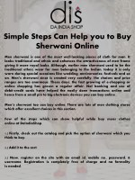 Simple Steps Can Help You To Buy Sherwani Online
