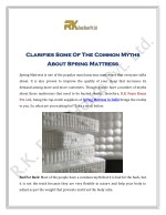 Clarifies Some Of The Common Myths About Spring Mattress