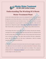 Understanding The Working Of A Waste Water Treatment Plant