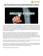 Tips For Choosing A Casino Online Gclub How To Secure
