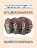 How Are The Variable Stator Vanes In A Gas Turbine Controlled?