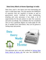 Data Entry Work at Home Openings in India