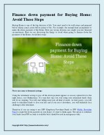 Finance down payment for Buying Home: Avoid These Steps
