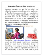 Computer Operator Jobs Opportunity