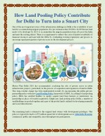 How Land Pooling Policy Contribute for Delhi to Turn into a Smart City