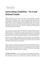 Interesting Guideline - No Load Mutual Funds