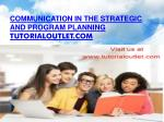 Communication in the strategic and program planning