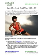 Behold The Beauty Uses Of Natural Olive Oil
