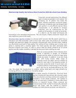 Structural Foam Injection Molding and Moldmaking