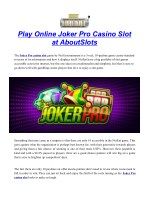 Play Online Joker Pro Casino Slot at AboutSlots