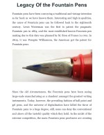 Legacy Of the Fountain Pens