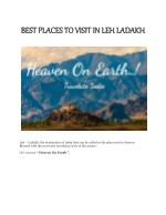 Best Places To Visit In Leh Ladakh | Heaven On Earth