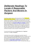 Deliberate Headings To Locate A Reasonable Packers And Movers In Gurgaon