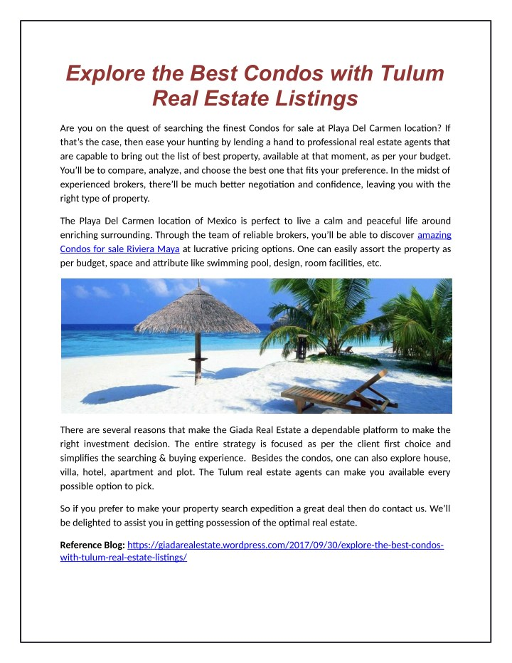 PPT - Explore the Best Condos with Tulum Real Estate