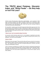 The TRUTH about Potatoes, Glycemic Index, and