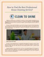 How to Find the Best Professional House Cleaning Service