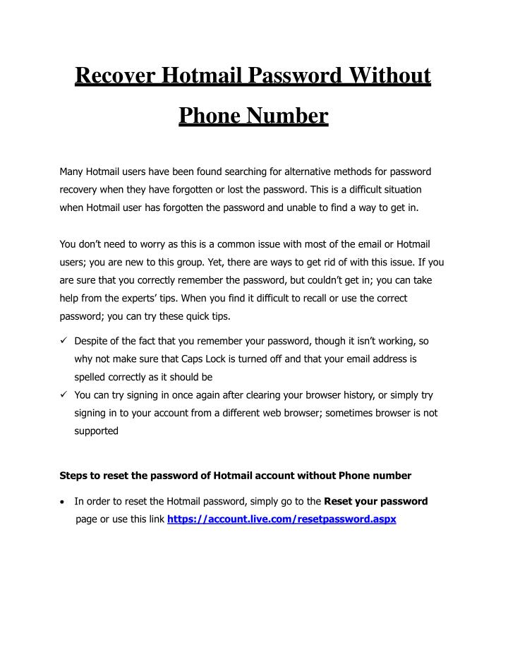 PPT - Recover Hotmail Password Without Phone Number PowerPoint