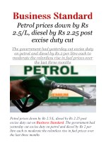 Petrol prices down by Rs 2.5/L, diesel by Rs 2.25 post excise duty cut