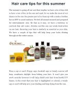 Hair care tips for this summer