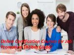 Online Certification Courses for Job Promotion with specialization in Human Resource