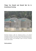 Things You Should and Should Not Do In Greenhouse Farming