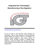 Gas Cylinder Regulator - IGT