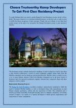 Choose Trustworthy Kamp Developers To Get First Class Residency Project
