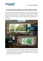 Considerable Advantages that UPVC Windows Offer