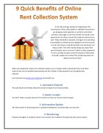 9 Quick Benefits of Online Rent Collection System