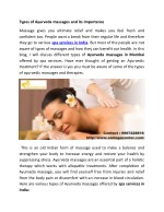 Types of ayurveda massages and its importance - samspacenter