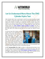 Let Us Understand More About The CNG Cylinder Hydro Test