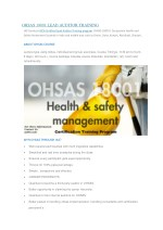 Ohsas 18001 Lead Auditor Training In Chennai, Bangalore & Cochin