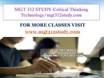 MGT 312 STUDY Critical Thinking Technology/mgt312study.com