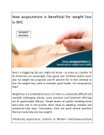 How acupuncture is beneficial for weight loss in NYC
