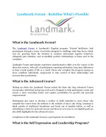Landmark Forum - Redefine What's Possible